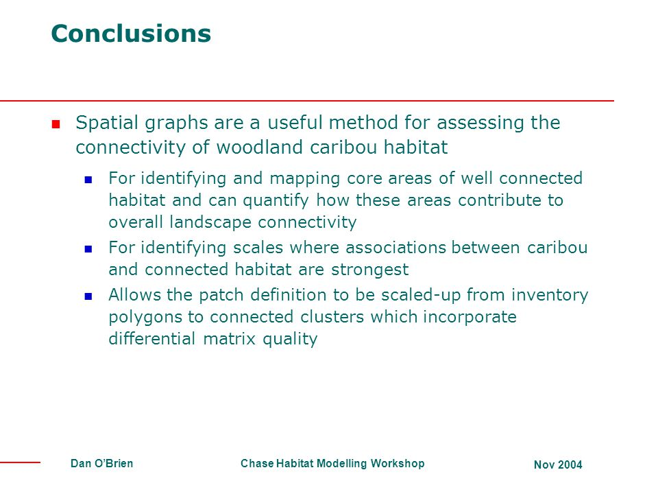 Conclusions Spatial graphs are a useful method for assessing the connectivity of woodland caribou habitat.