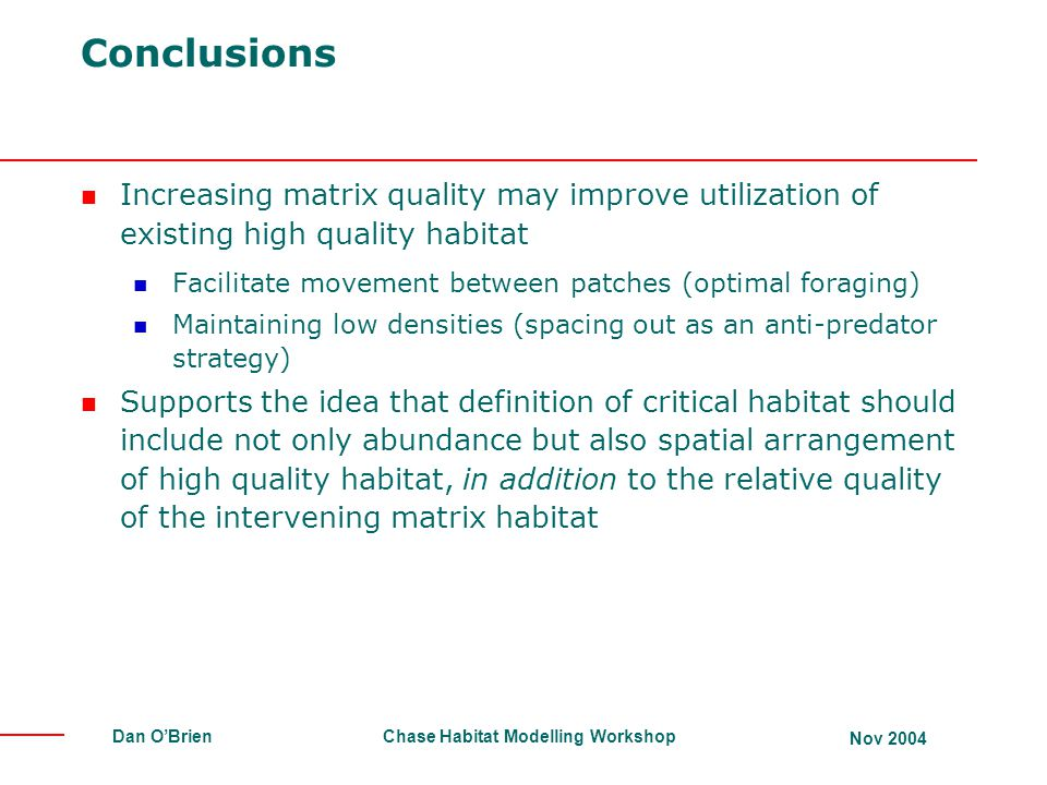 Conclusions Increasing matrix quality may improve utilization of existing high quality habitat.