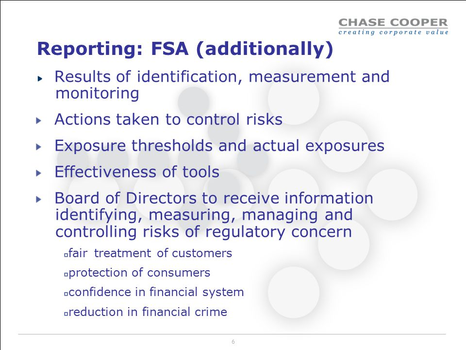 Reporting: FSA (additionally)