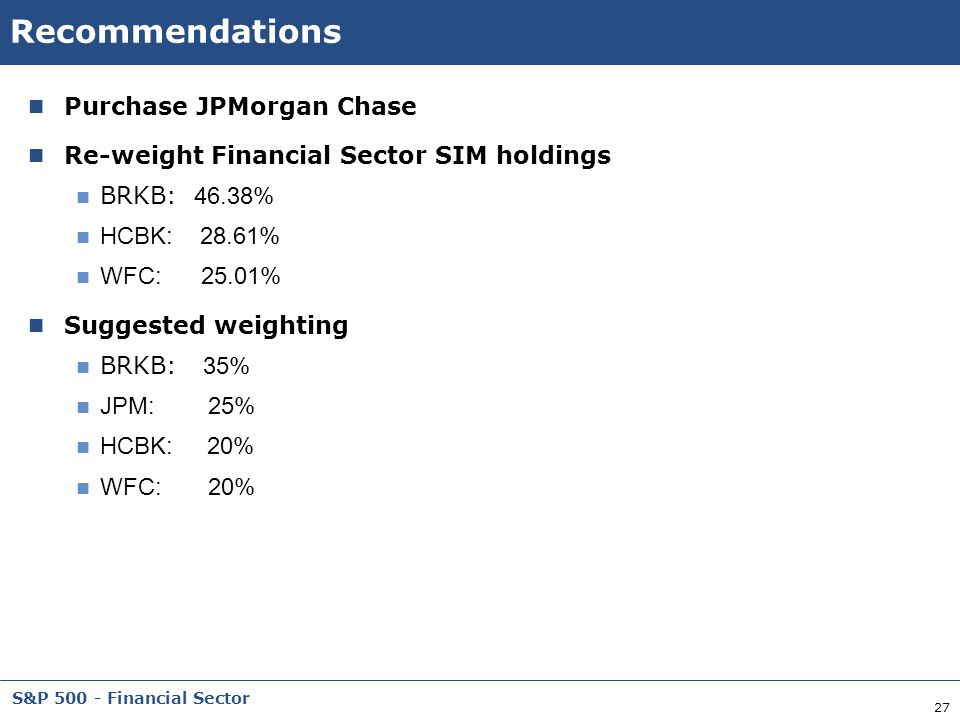 Recommendations Purchase JPMorgan Chase
