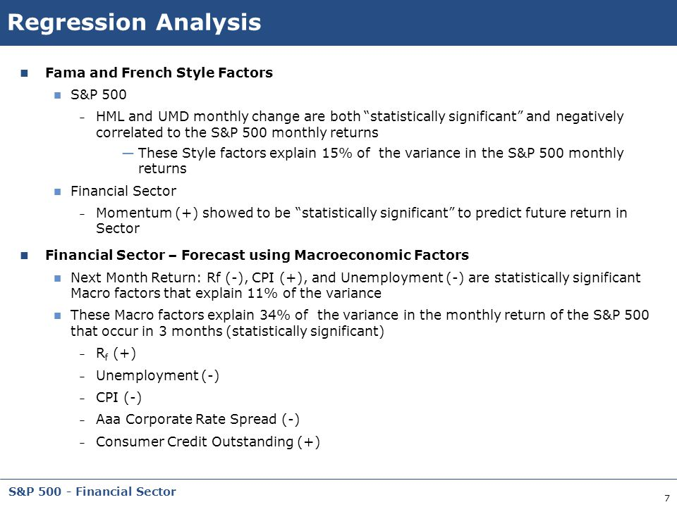 Regression Analysis Fama and French Style Factors S&P 500
