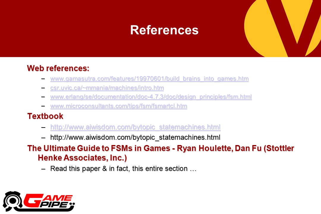 References Web references: Textbook