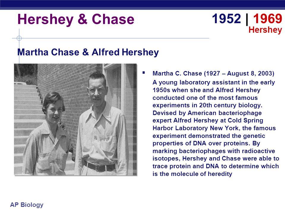 Hershey & Chase 1952 | 1969 Martha Chase & Alfred Hershey Hershey