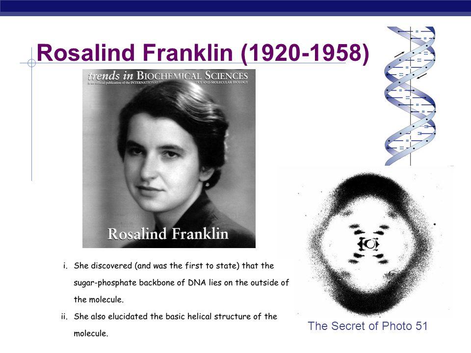 Rosalind Franklin (1920-1958) The Secret of Photo 51
