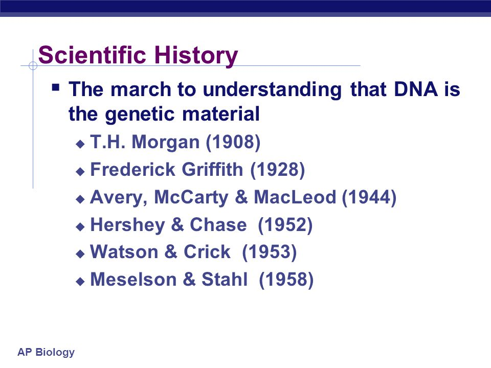 Scientific History The march to understanding that DNA is the genetic material. T.H. Morgan (1908)