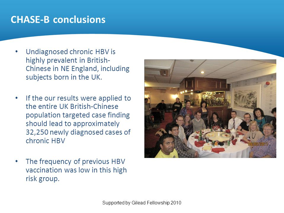 CHASE-B conclusions Undiagnosed chronic HBV is highly prevalent in British-Chinese in NE England, including subjects born in the UK.