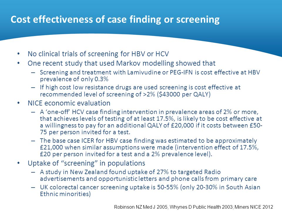 Cost effectiveness of case finding or screening