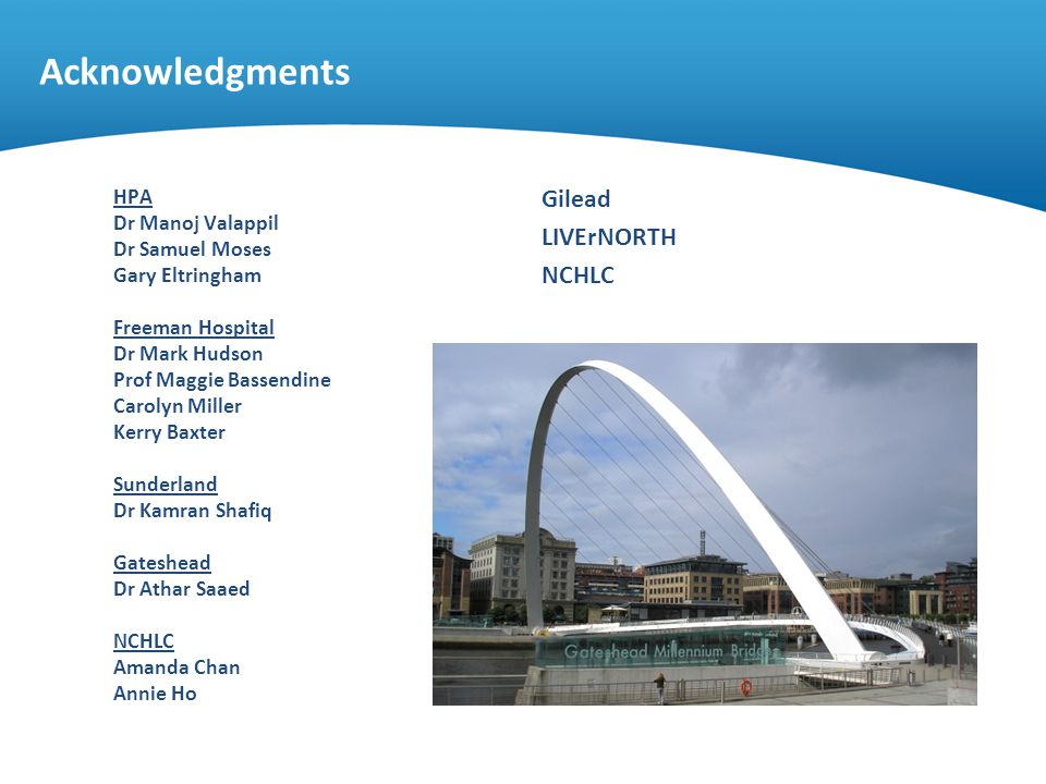 Acknowledgments Gilead LIVErNORTH NCHLC HPA Dr Manoj Valappil