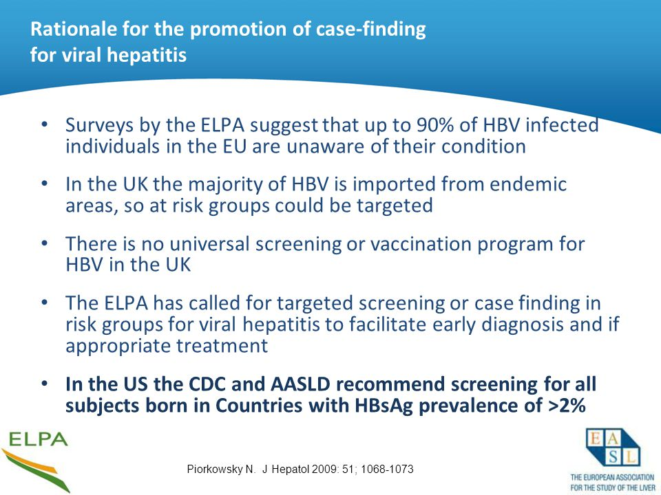 Rationale for the promotion of case-finding for viral hepatitis