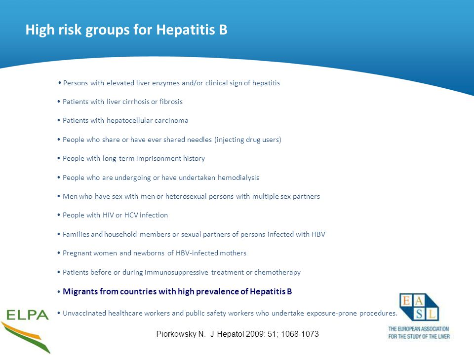 High risk groups for Hepatitis B