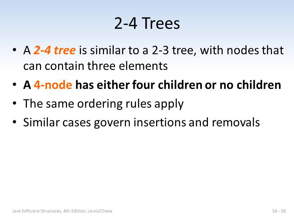 2-4 Trees A 2-4 tree is similar to a 2-3 tree, with nodes that can contain three elements. A 4-node has either four children or no children.