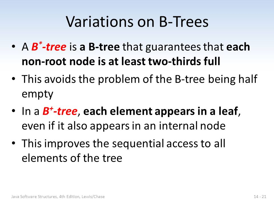Variations on B-Trees A B*-tree is a B-tree that guarantees that each non-root node is at least two-thirds full.