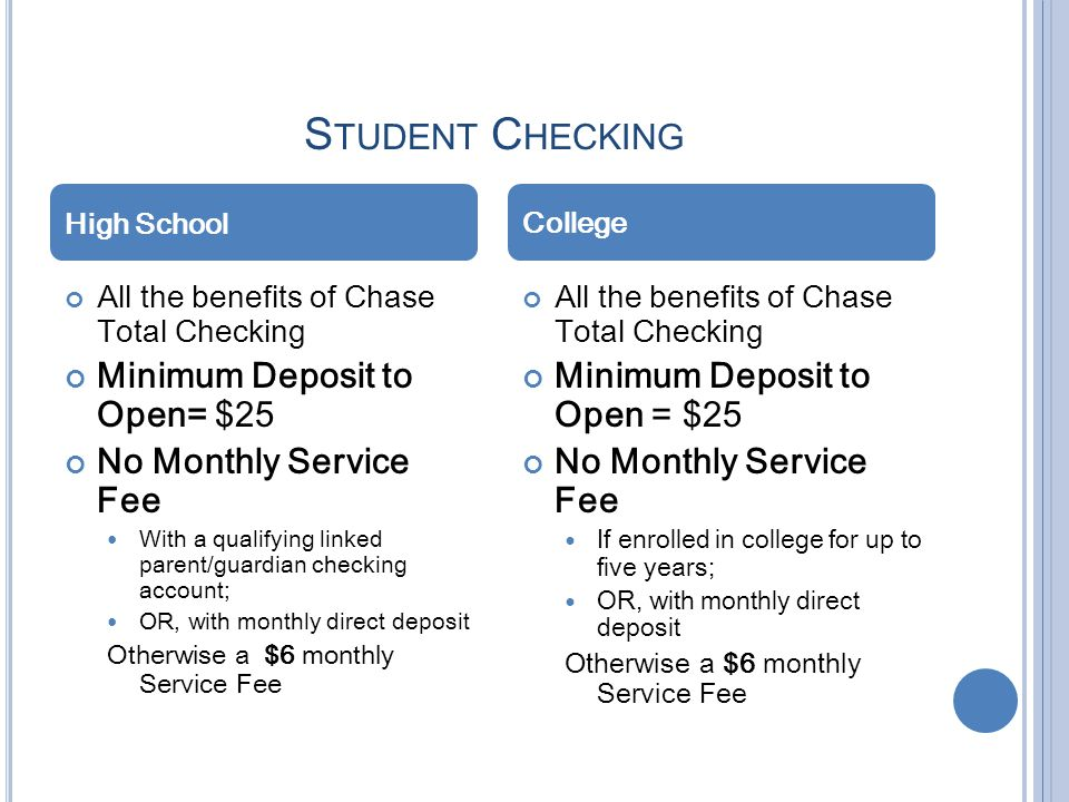 Student Checking Minimum Deposit to Open= $25 No Monthly Service Fee