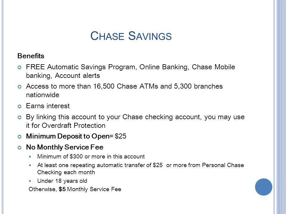 Chase Savings Benefits