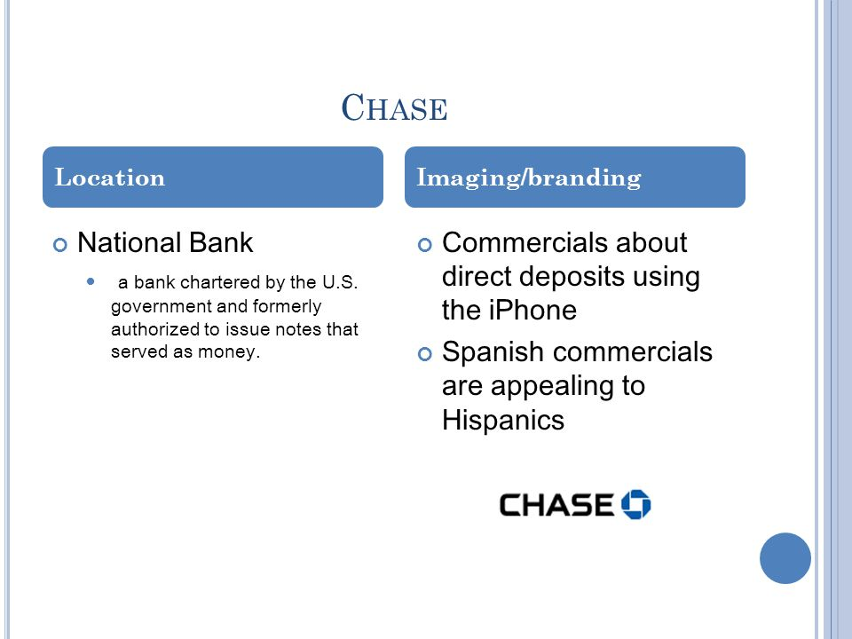Chase National Bank Commercials about direct deposits using the iPhone