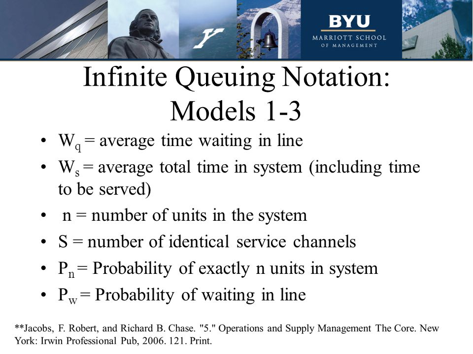 Infinite Queuing Notation: Models 1-3