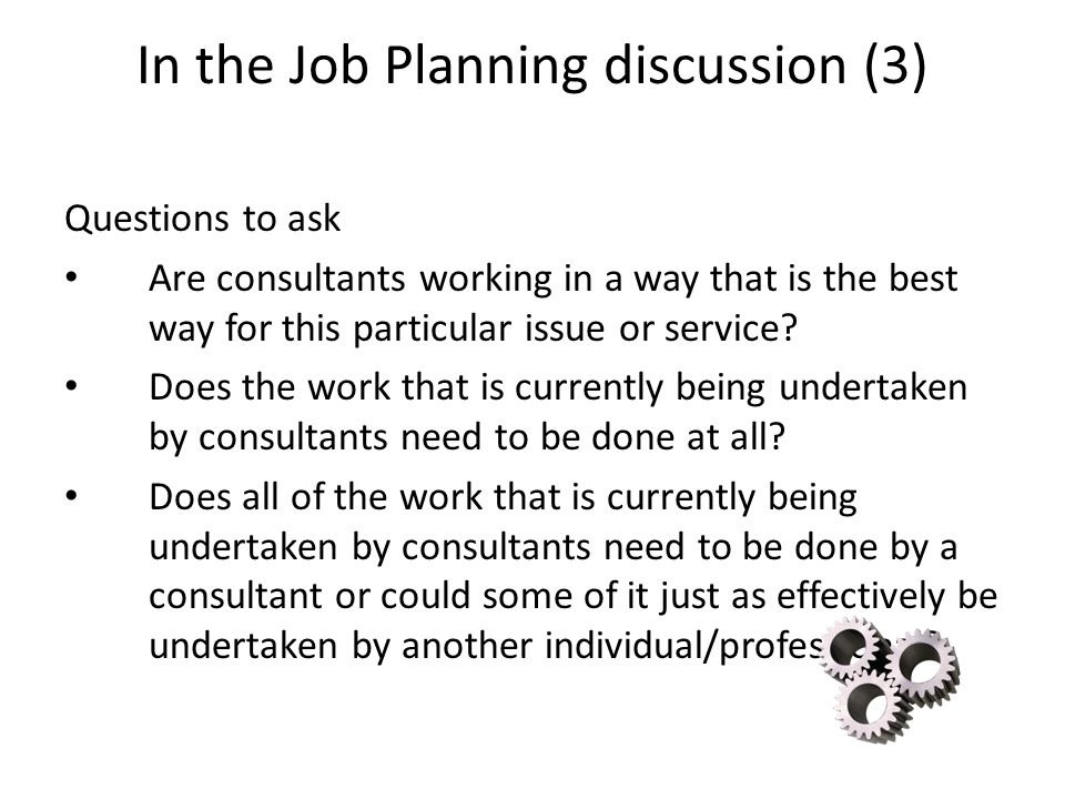 In the Job Planning discussion (3)