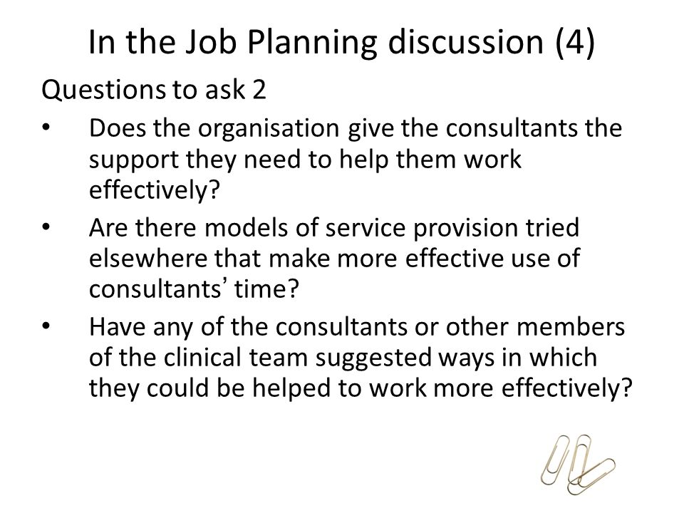 In the Job Planning discussion (4)