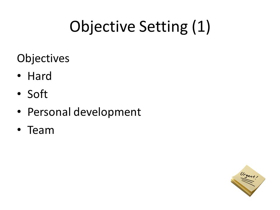 Objective Setting (1) Objectives Hard Soft Personal development Team
