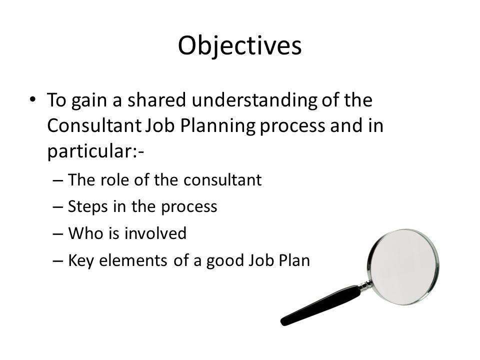 Objectives To gain a shared understanding of the Consultant Job Planning process and in particular:-