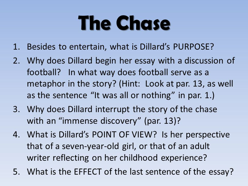 The Chase Besides to entertain, what is Dillard's PURPOSE