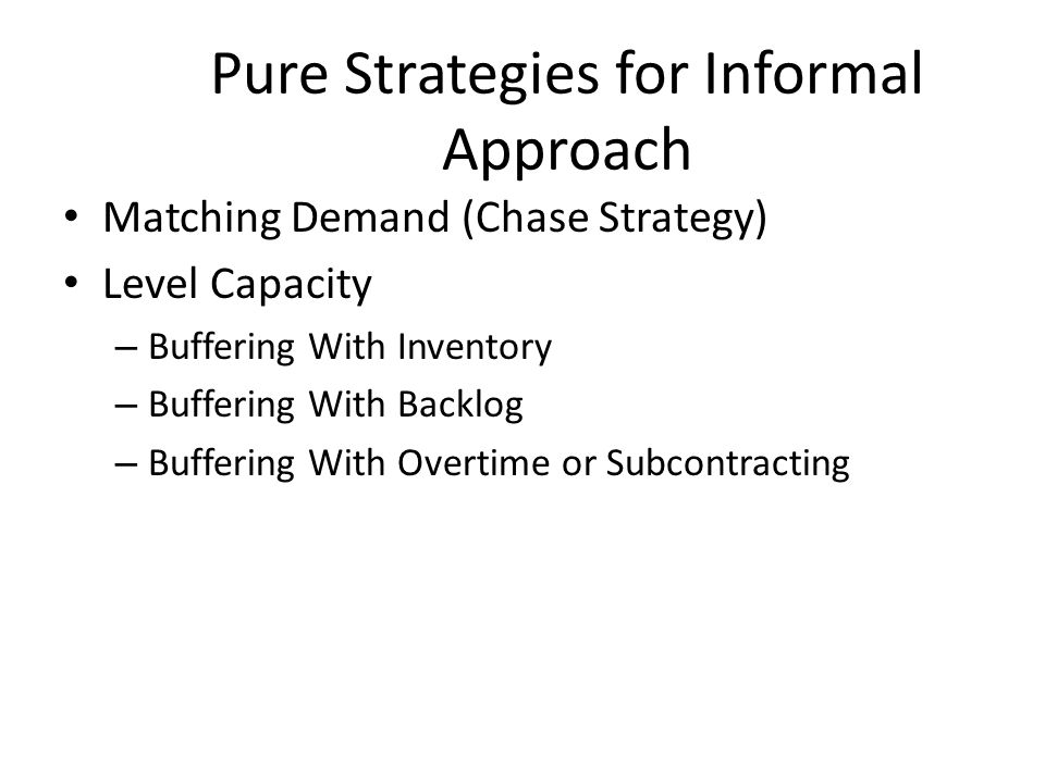 Pure Strategies for Informal Approach