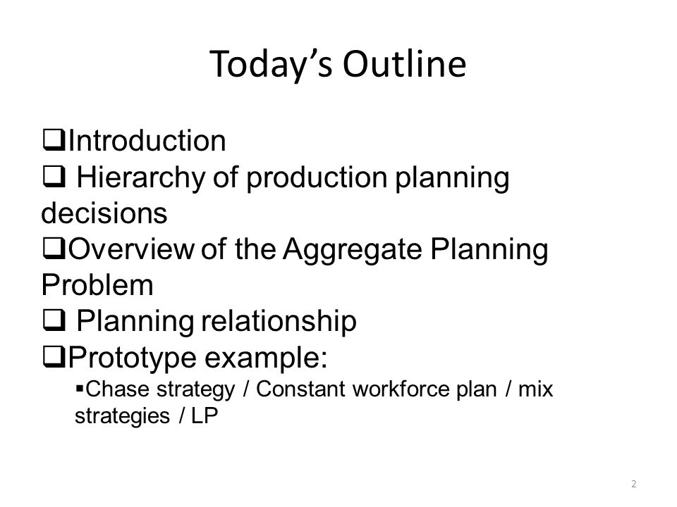 Today's Outline Introduction