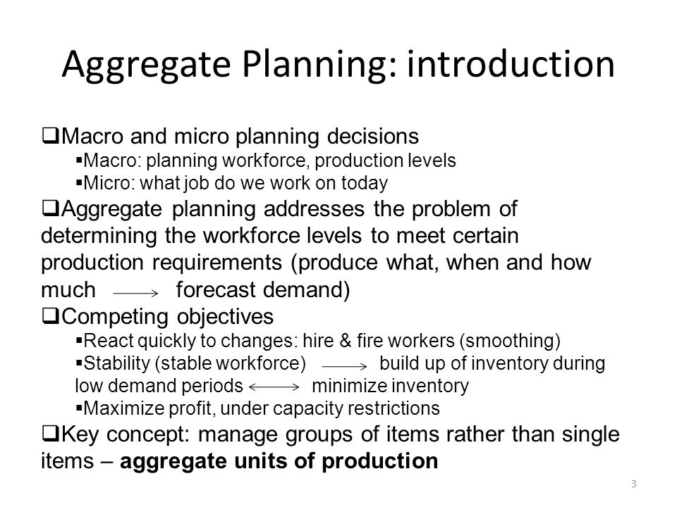Aggregate Planning: introduction