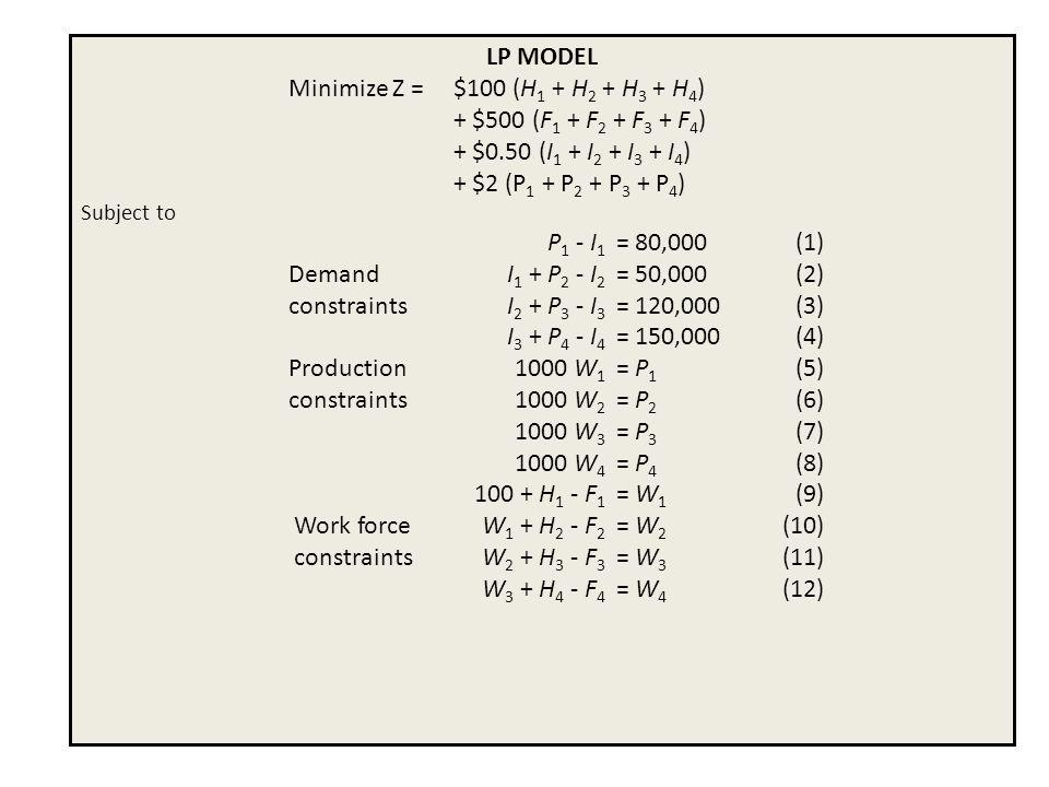 Minimize Z = $100 (H1 + H2 + H3 + H4) + $500 (F1 + F2 + F3 + F4)