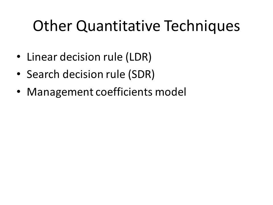 Other Quantitative Techniques