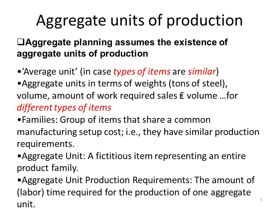 Aggregate units of production
