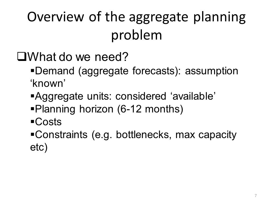 Overview of the aggregate planning problem