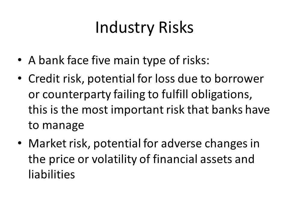 Industry Risks A bank face five main type of risks: