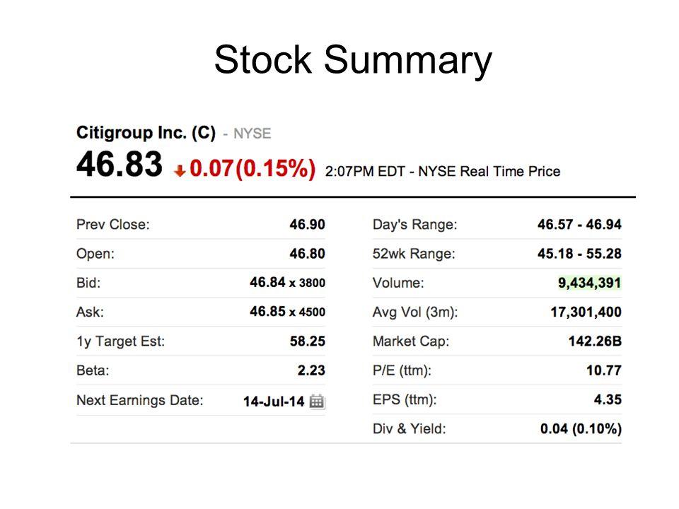 Stock Summary