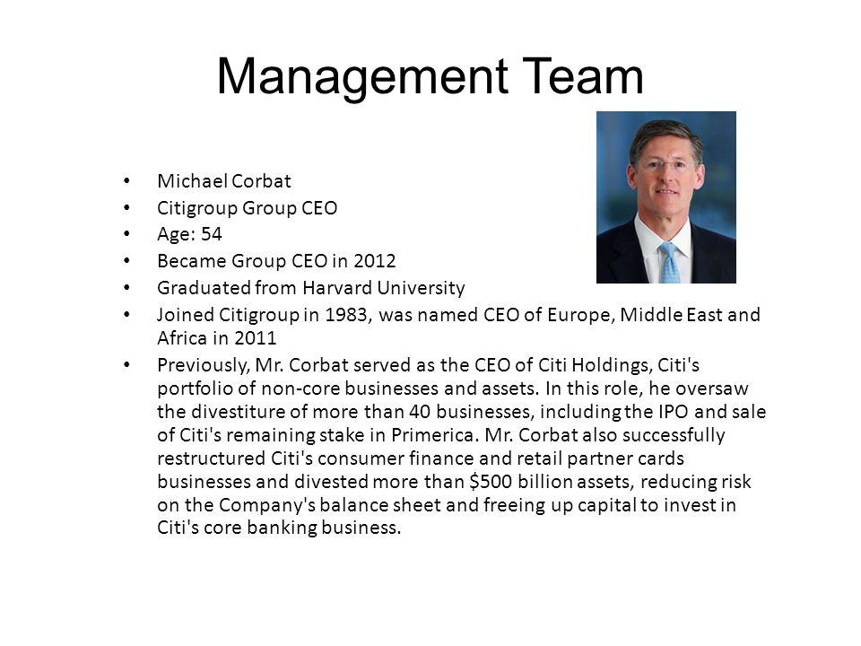 Management Team Michael Corbat Citigroup Group CEO Age: 54