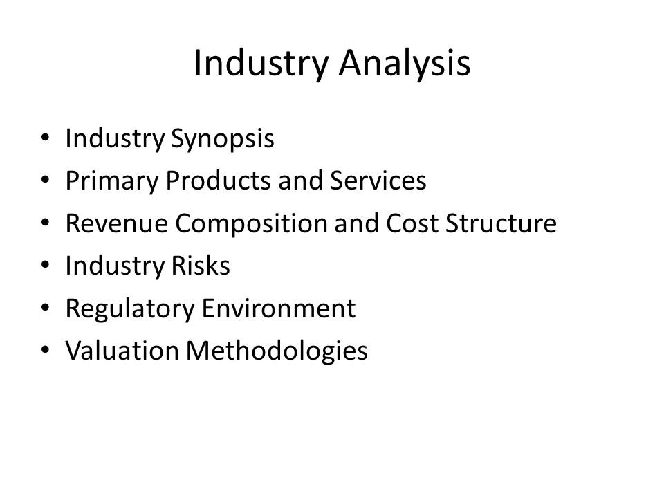 Industry Analysis Industry Synopsis Primary Products and Services