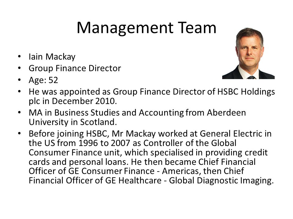Management Team Iain Mackay Group Finance Director Age: 52