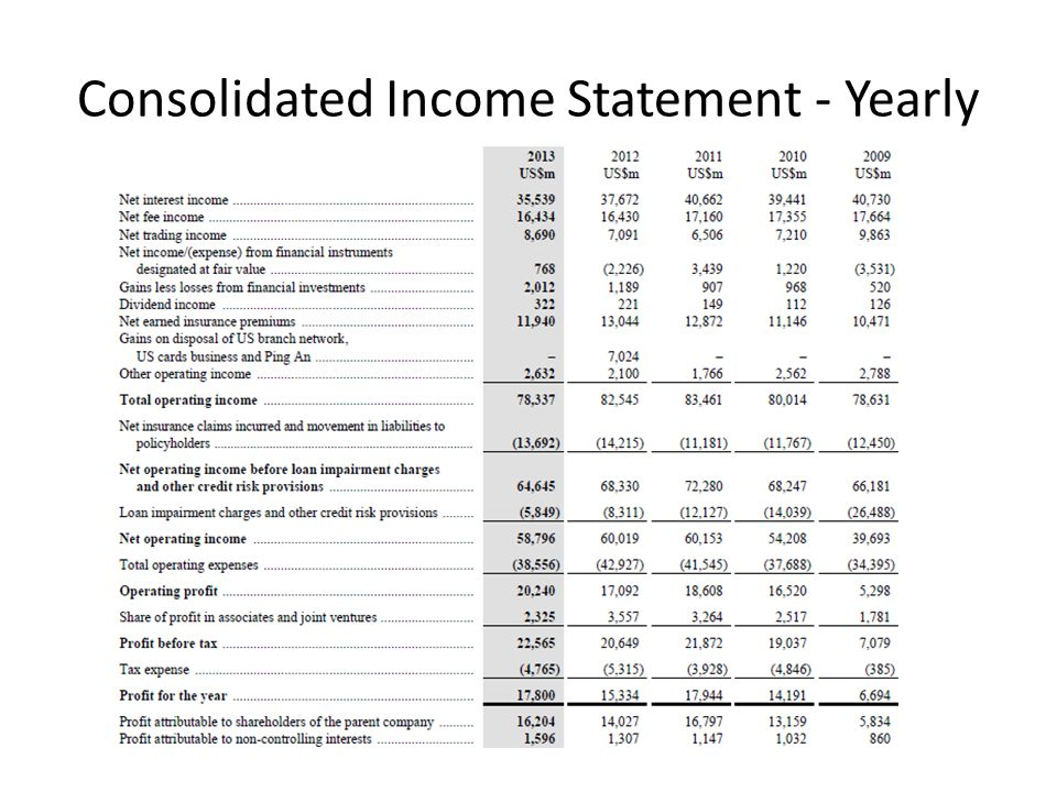 Consolidated Income Statement - Yearly