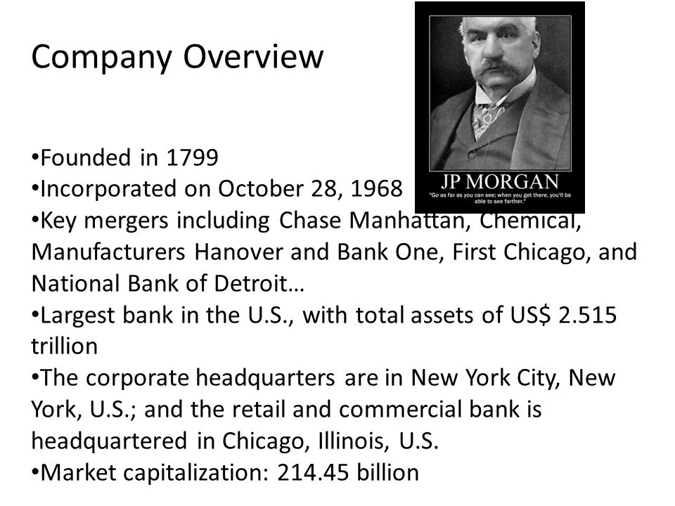 Company Overview Founded in 1799 Incorporated on October 28, 1968