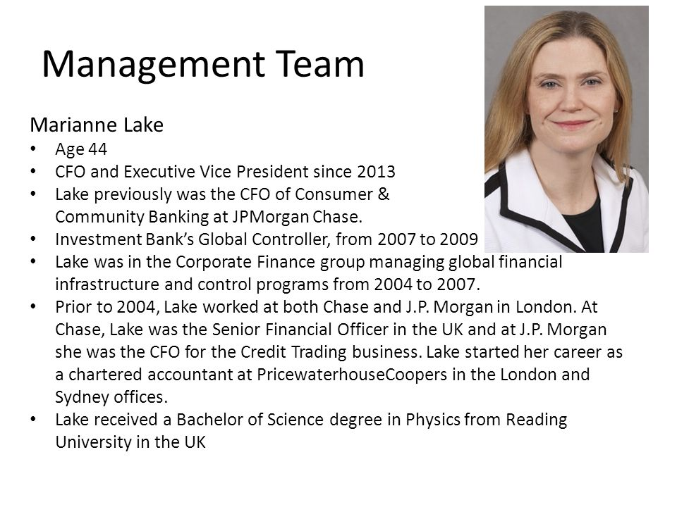 Management Team Marianne Lake Age 44