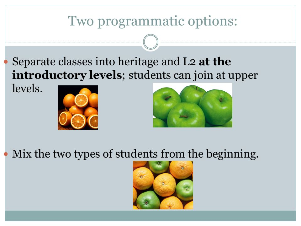 Two programmatic options: