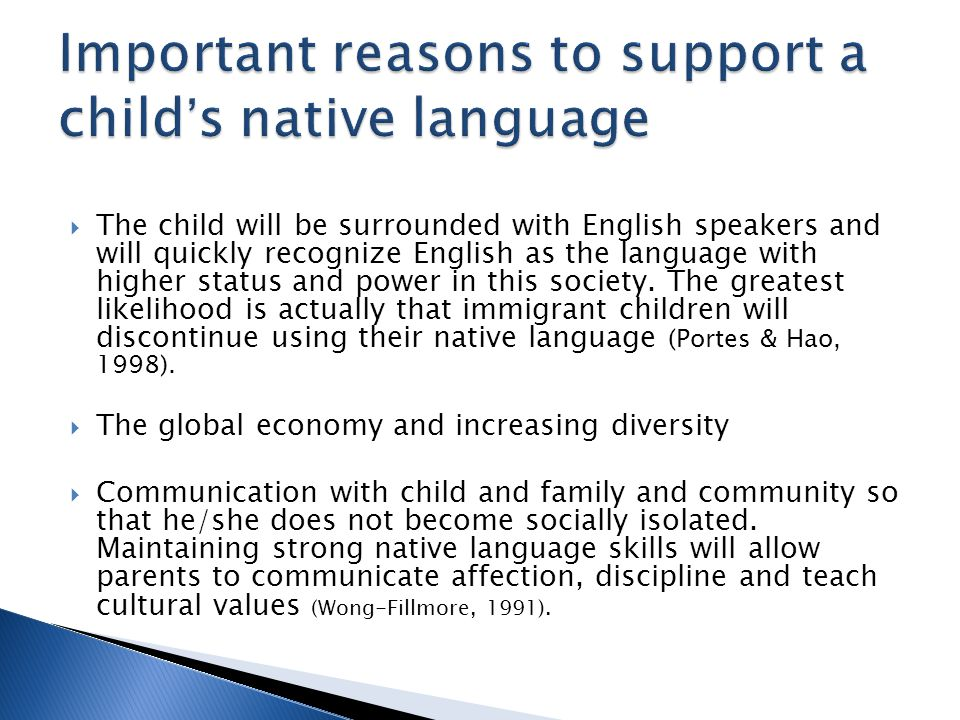 Important reasons to support a child's native language