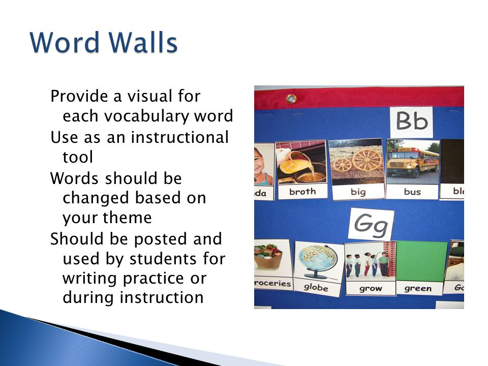 Word Walls Provide a visual for each vocabulary word
