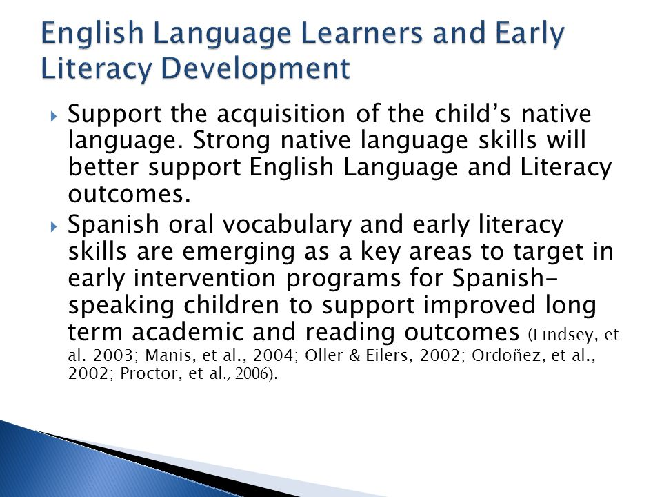 English Language Learners and Early Literacy Development