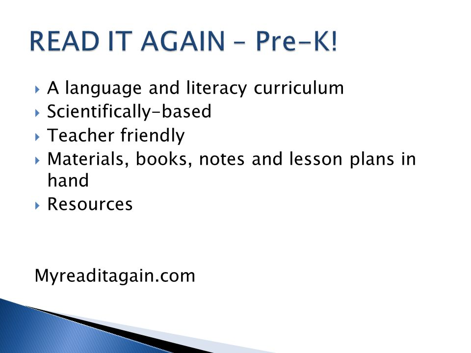 READ IT AGAIN – Pre-K! A language and literacy curriculum
