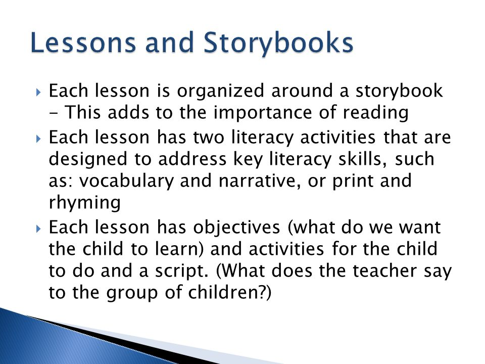 Lessons and Storybooks