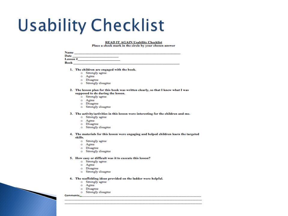 Usability Checklist