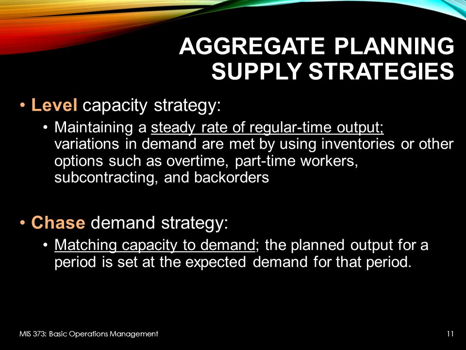 Aggregate Planning Supply Strategies