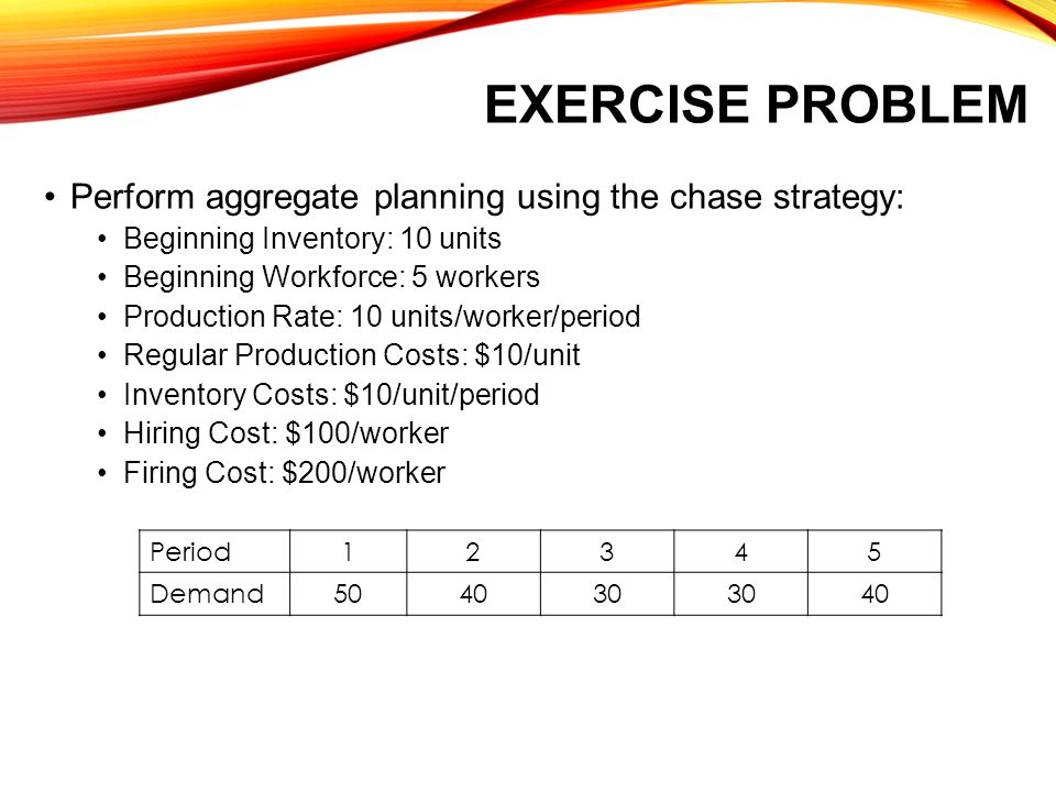 Exercise Problem Perform aggregate planning using the chase strategy:
