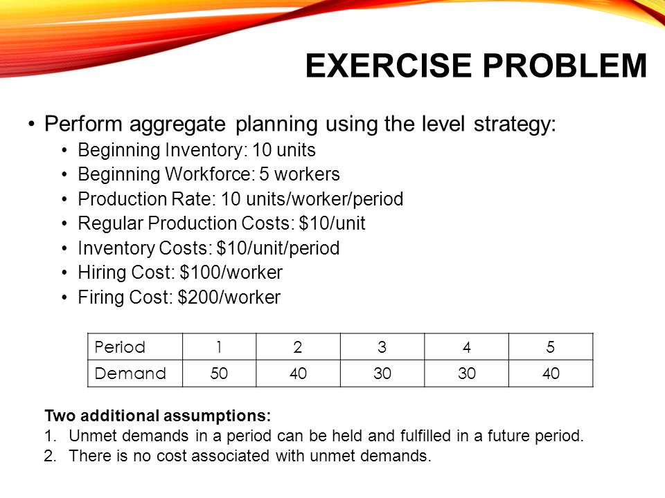 Exercise Problem Perform aggregate planning using the level strategy: